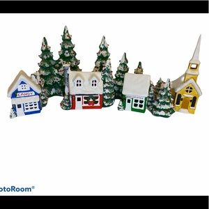 Ceramic Flocked Christmas Trees + village